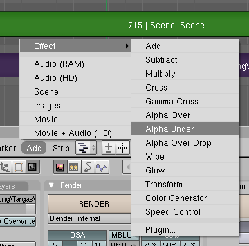 Blender Video Sequence Editor Add Alpha Under